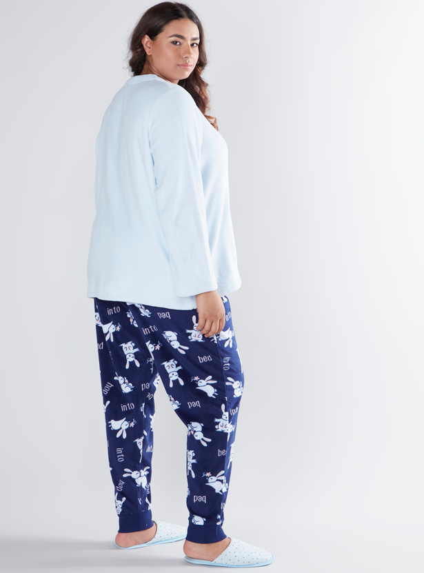 Cozy Collection Printed T-shirt with Full Length Jog Pants
