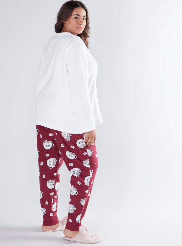 Cozy Collection Printed Round Neck T-shirt and Printed Pyjama Set