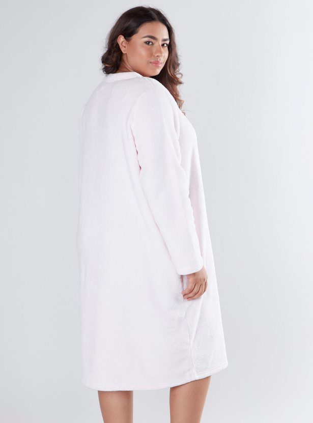 Cozy Collection Printed Round Neck Sleep Dress with Long Sleeves