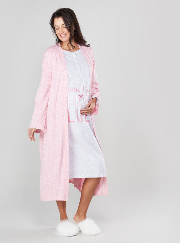 Melange Maternity Robe with Long Sleeves and Tie Ups