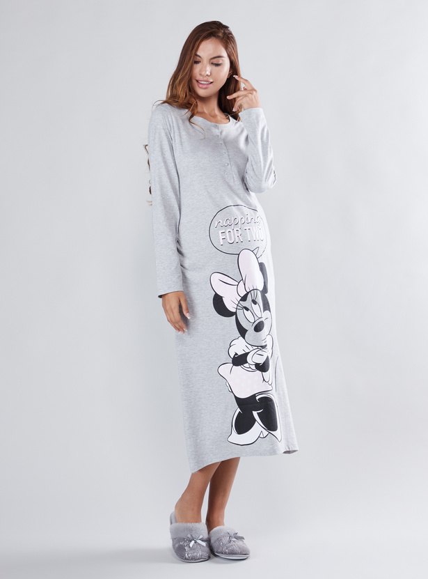 Maternity Minnie Mouse Printed Sleep Dress with Henley Neck