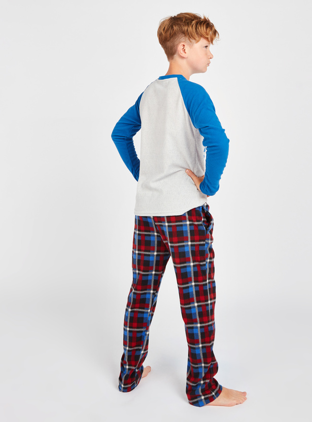 Cozy Collection Textured Long Sleeves T-shirt and Checked Pyjama Set