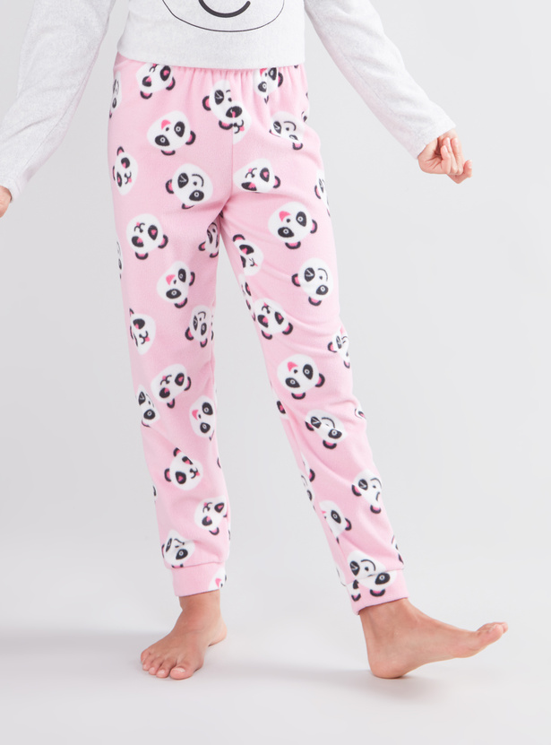 Cozy Collection Panda Print Long Sleeves T-shirt and Pyjama Set