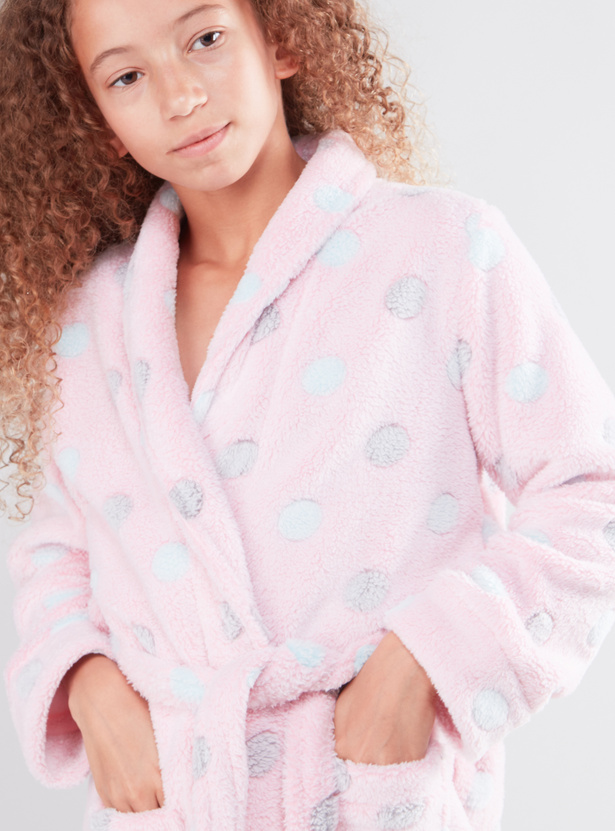 Cozy Collection Textured Robe with Long Sleeves and Tie Ups