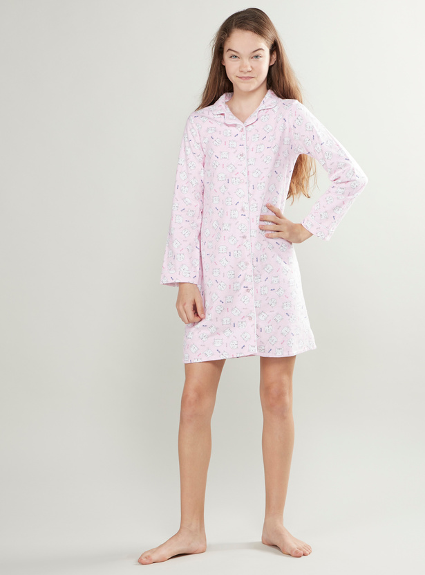 Cozy Collection Printed Sleepshirt with Long Sleeves