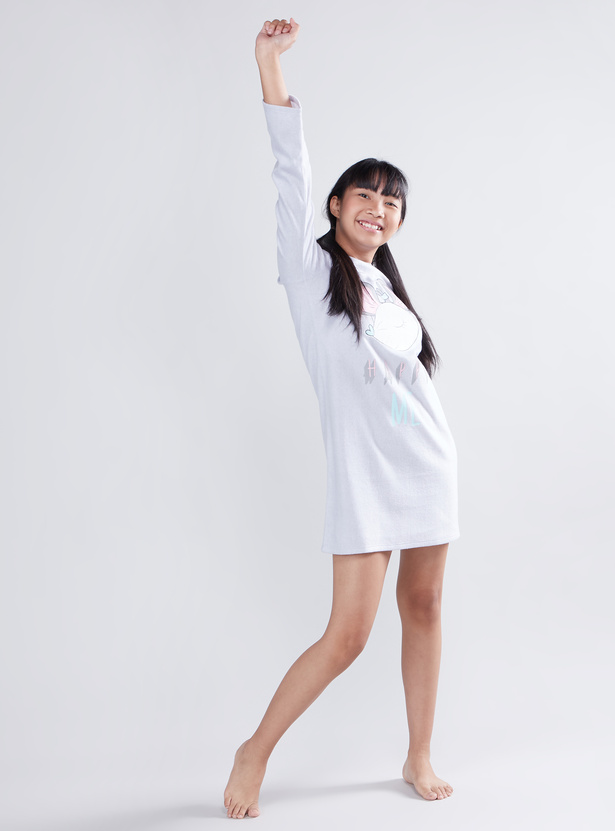 Cozy Collection Printed Sleep Dress with Round Neck and Long Sleeves