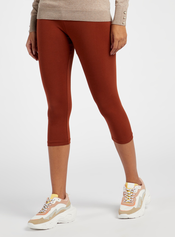 Solid Mid-Rise Anti-Pilling 3/4 Leggings with Elasticised Waistband