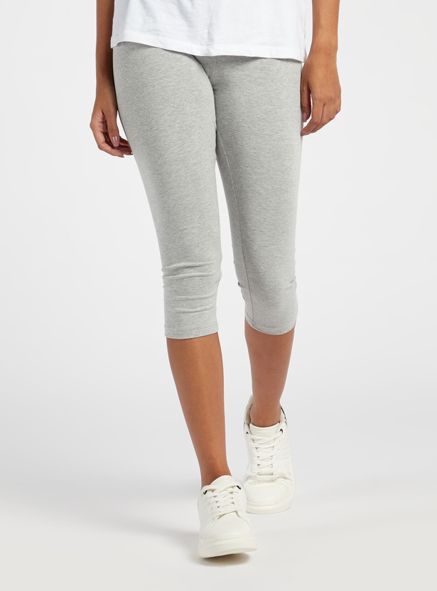 Solid Mid-Rise 3/4 Cropped Leggings with Elasticised Hem
