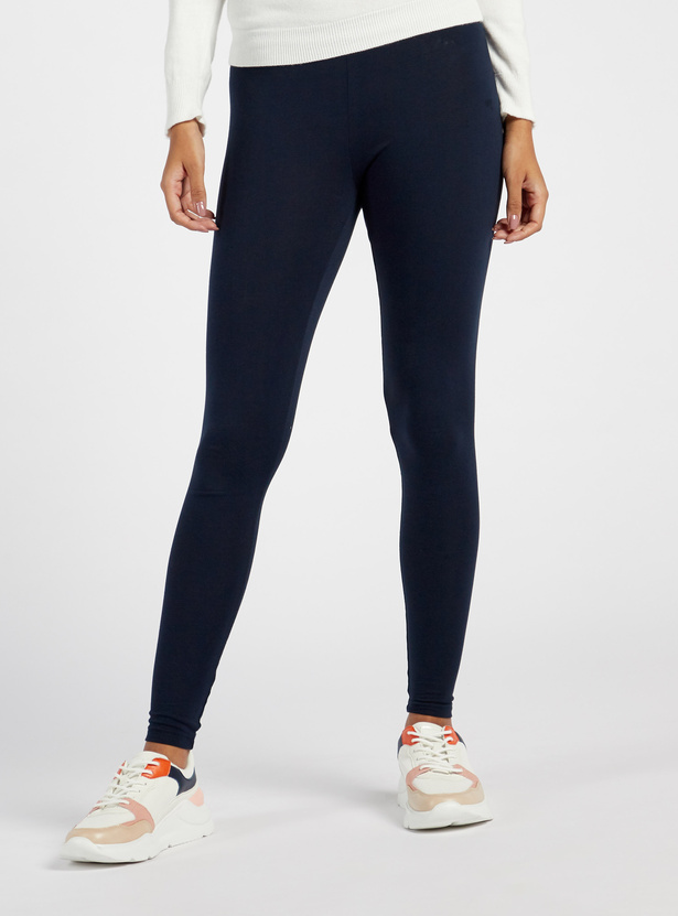 Full Length Solid Anti-Pilling Leggings with Elasticated Waistband