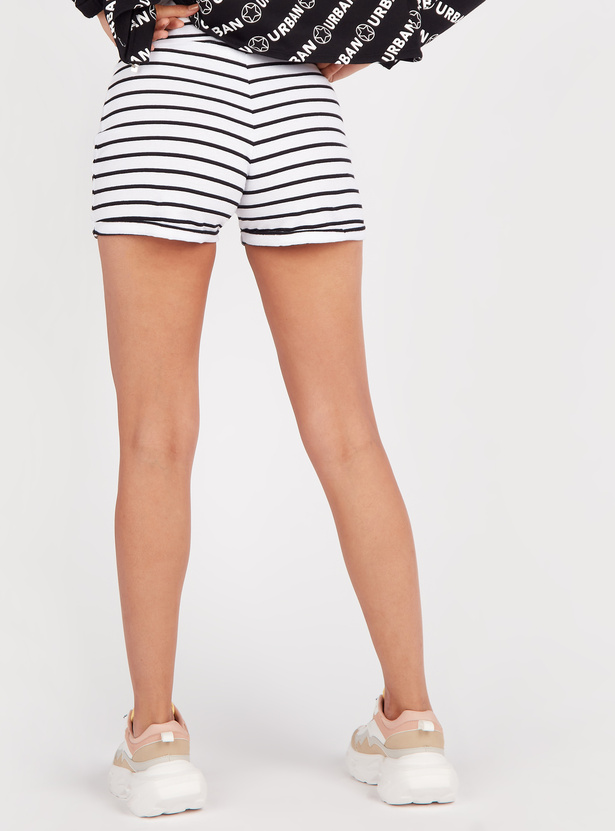 Striped Mid Rise Shorts with Elasticated Drawstring Waistband