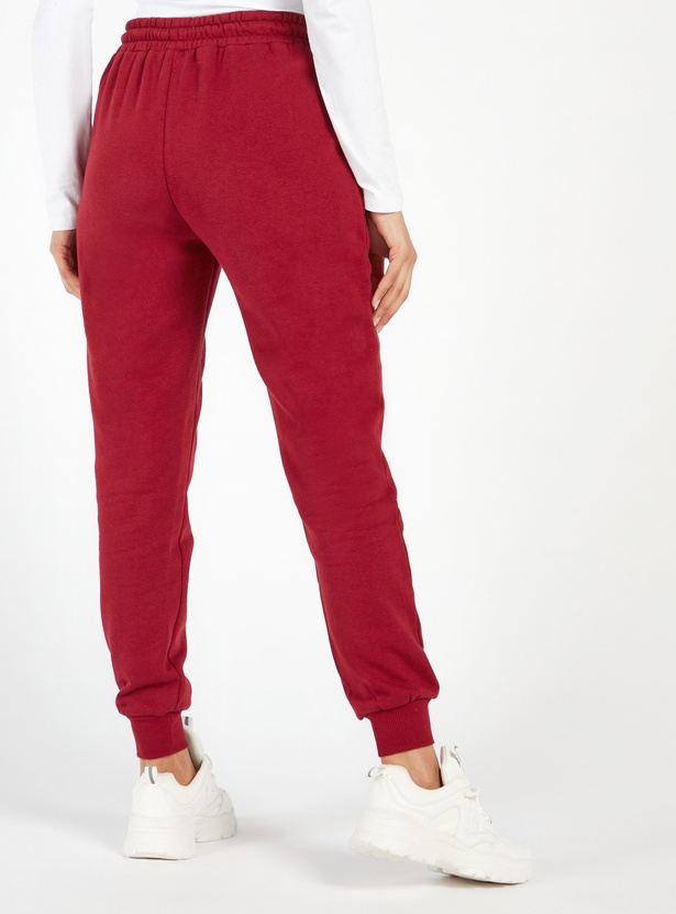 Solid High-Rise Jog Pants with Pockets and Drawstring