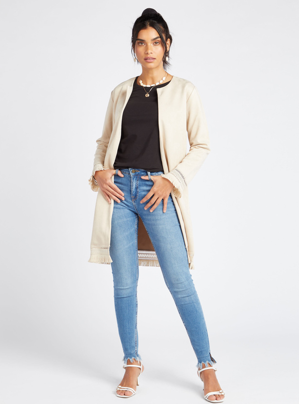 Solid T-shirt with Long Sleeves and Round Neck