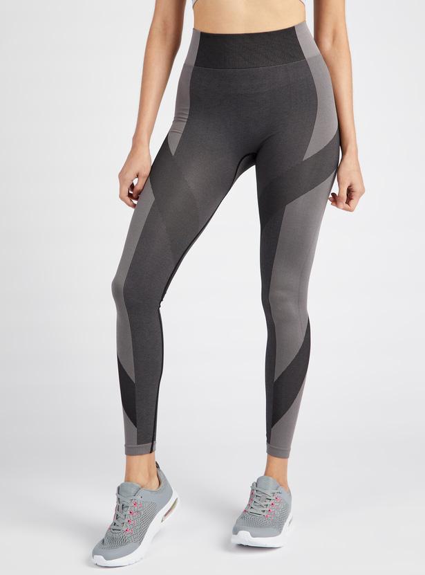 Colourblocked Jacquard Textured Seamless Leggings