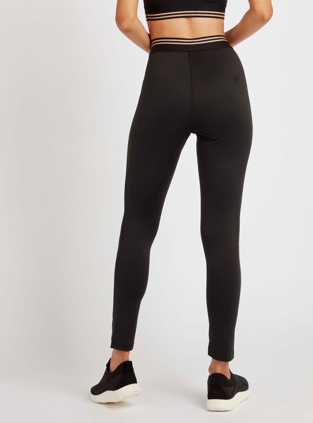 Panelled Leggings with Lurex Stripes