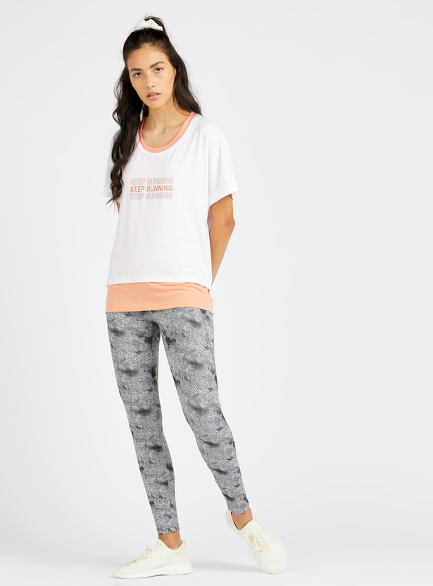 Printed Double Layered Round Neck T-shirt with Short Sleeves