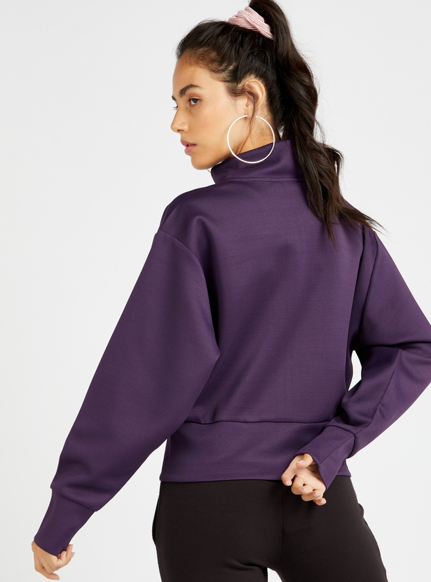 Textured Jacket with High Neck and Long Sleeves