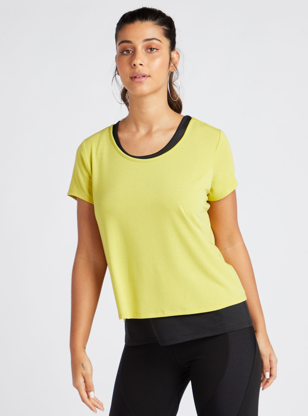 Printed Double Layered T-shirt with Round Neck and Short Sleeves