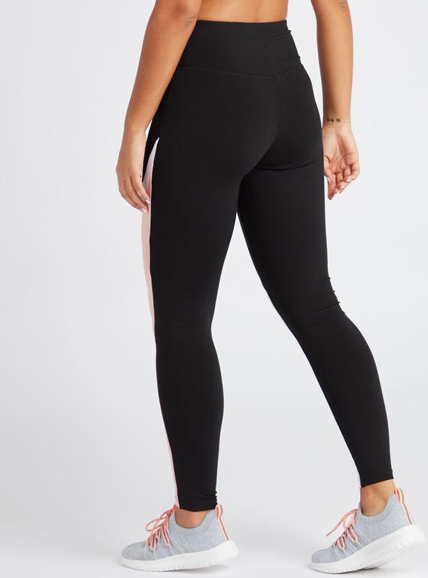 Slim Fit Full Length Solid Color Block Leggings with Elasticised Waist