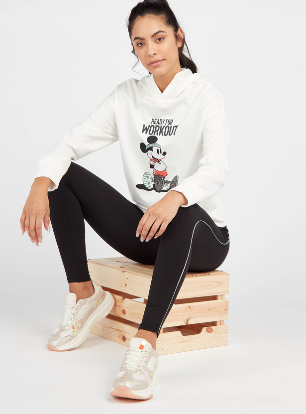 Mickey Mouse Print Hoodie with Long Sleeves