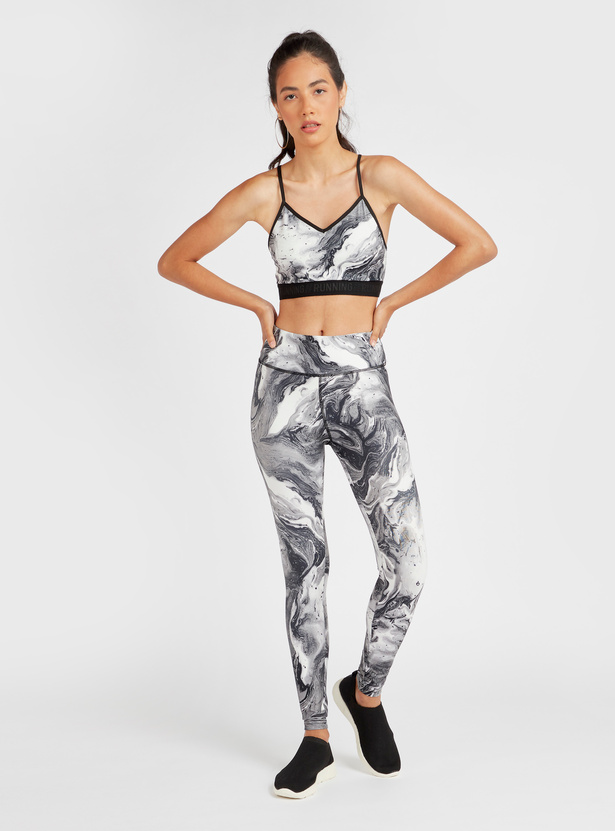 Printed Medium Support Sports Bra with Racerback and Adjustable Straps