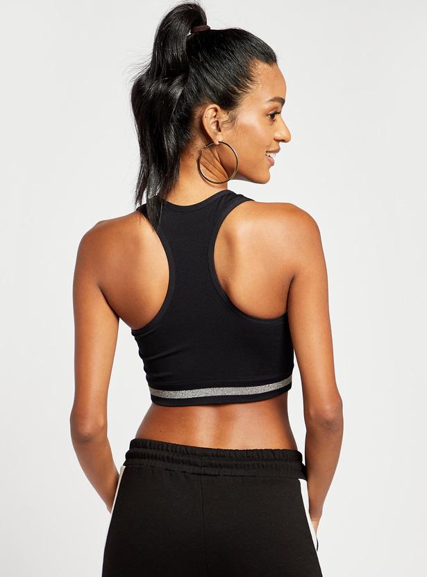 Slim Fit Medium Support Sports Bra with Striped Hem and Racerback