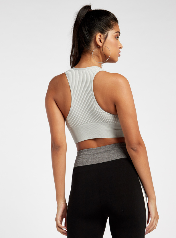 Slim Fit Ribbed Texture Medium Support Sports Bra with Racerback