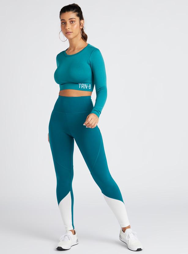 Slim Fit Printed Medium Support Crop Top with Long Sleeves