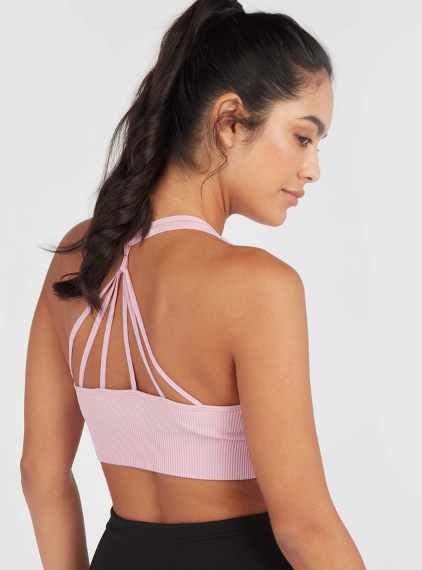 Slim Fit Textured Medium Support Sports Bra with Back Strap Detail