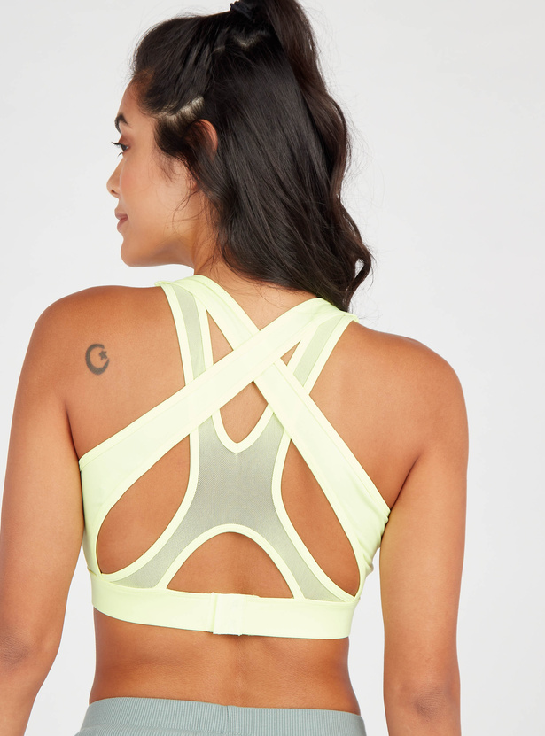 Solid Sleeveless Sports Bra with Scoop Neck and Mesh Detail
