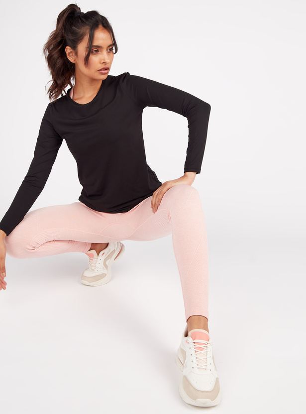 Solid Top with Crew Neck and Long Sleeves