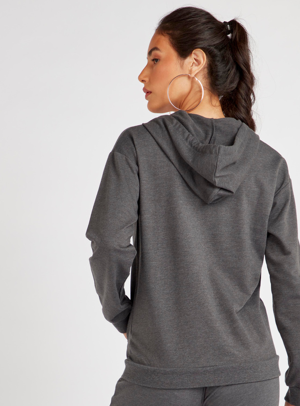 Textured Jacket with Long Sleeves and Drawstring Hood