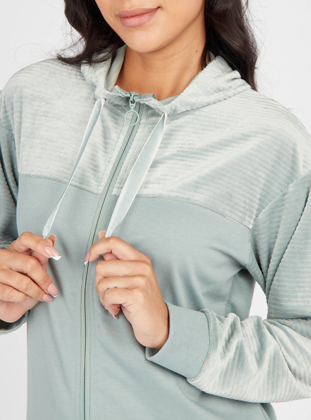 Textured Hooded Jacket with Long Sleeves and Zip Closure