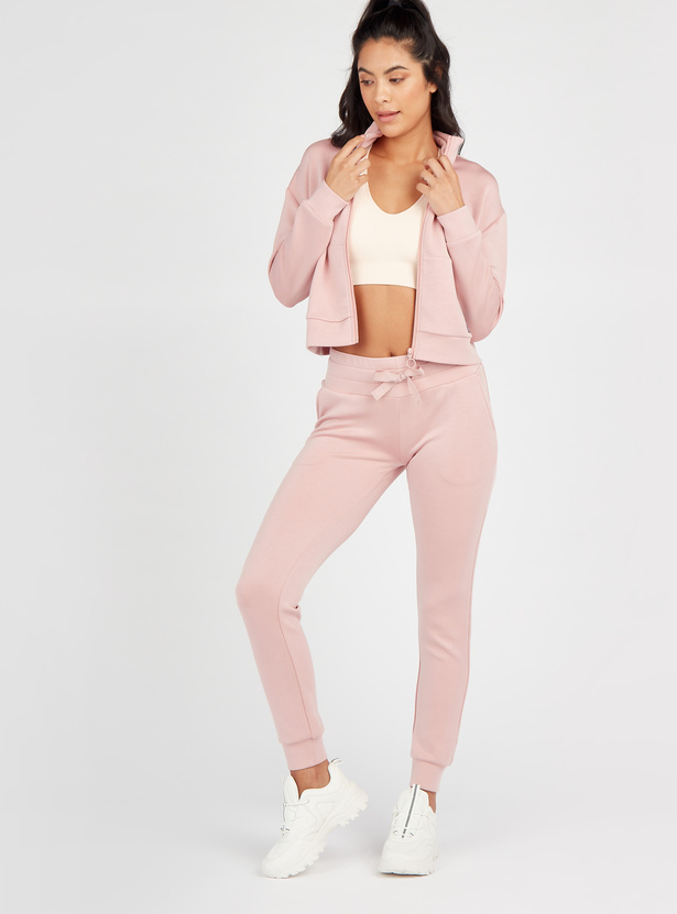 Solid Full Length Mid-Rise Joggers with Pockets