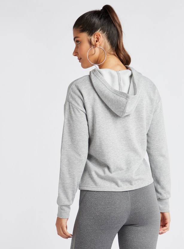 Slogan Print Textured Sweatshirt with Long Sleeves and Hood