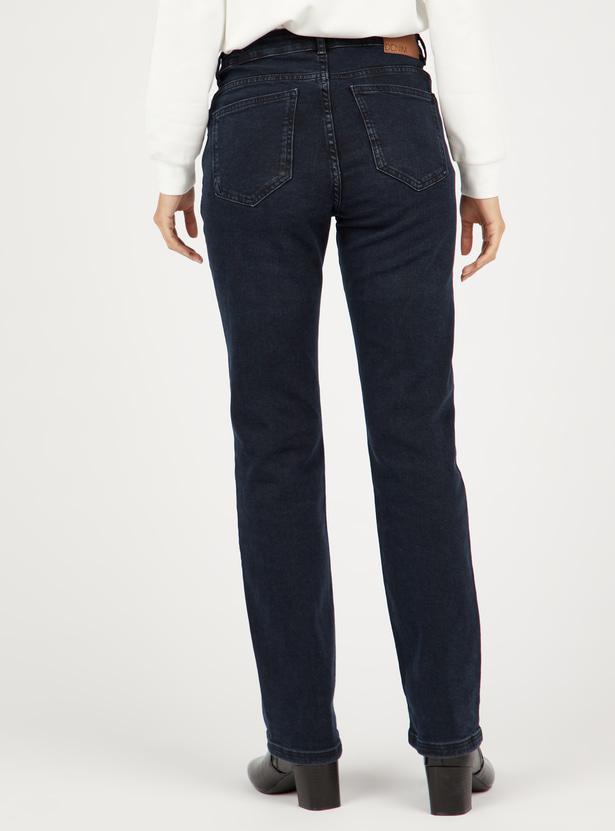 بنطلون جينز بقصة تلائم الأحذية الطويلة وبخصر متوسط الارتفاع وجيوب وعراوي
