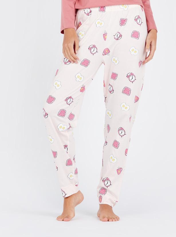 Full Length Graphic Print Pyjamas with Elasticated Waistband
