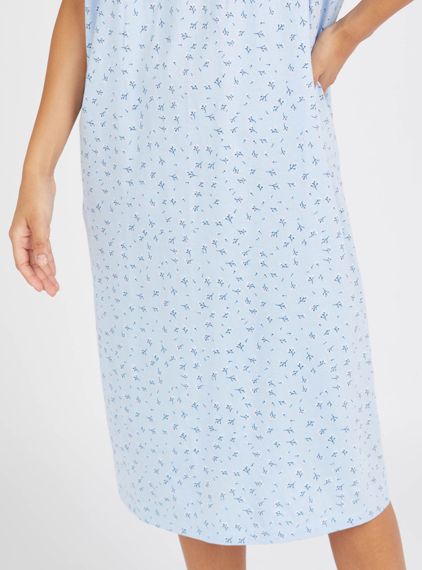 Floral Print Round Neck Sleep Gown with Short Sleeves