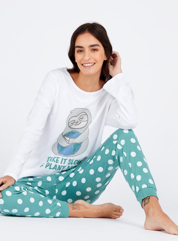 Graphic Print Round Neck T-shirt and Pyjamas Set