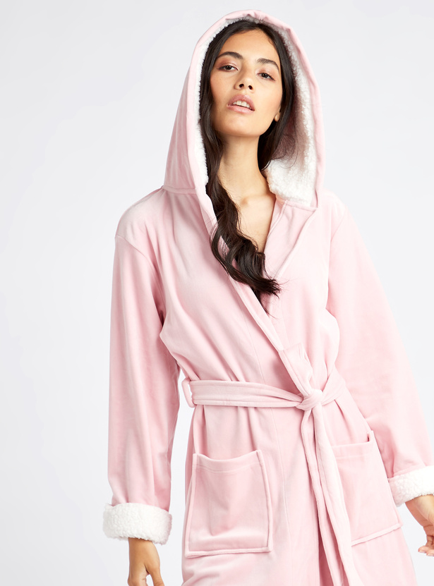 Cozy Collection Solid Robe with Hood and Tie Ups
