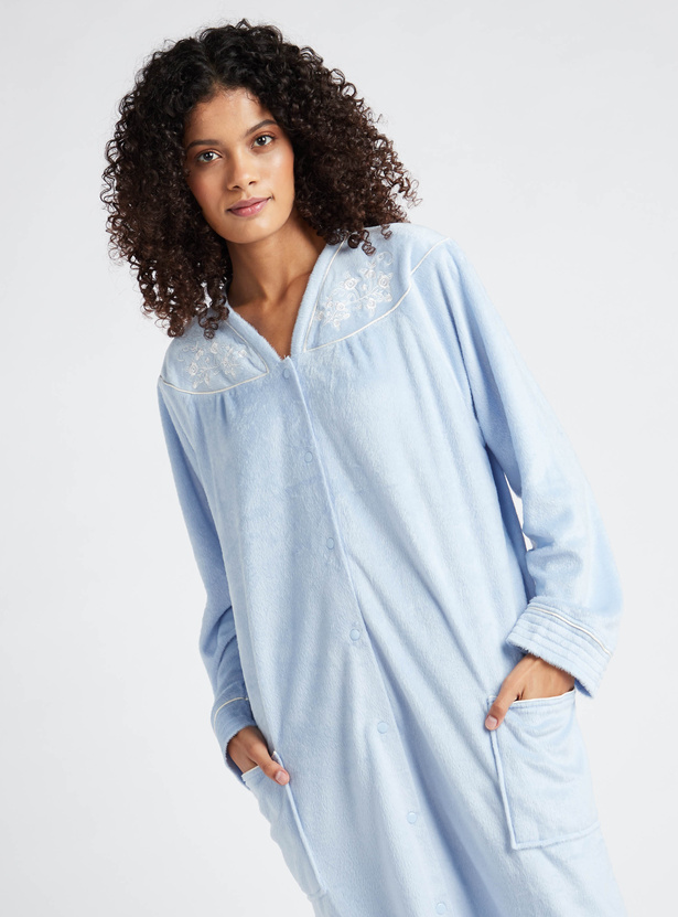 Cozy Collection Embroidered Sleep Gown with Long Sleeves and Pockets