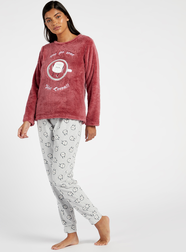 Cozy Collection Textured Round Neck Top and Printed Pyjama Set