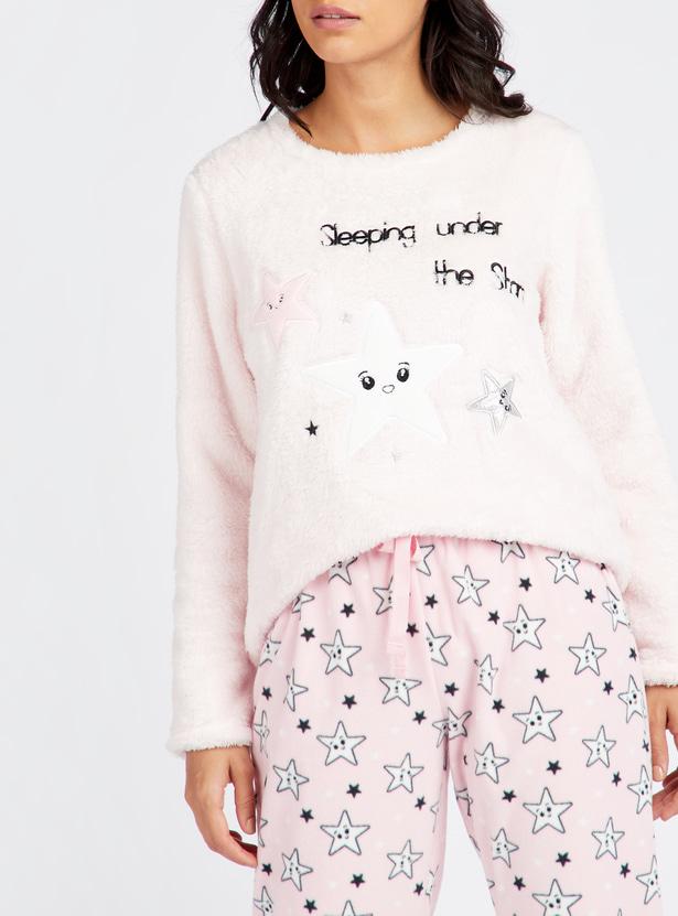 Cozy Collection Plush Top and Printed Full Length Pyjama Set