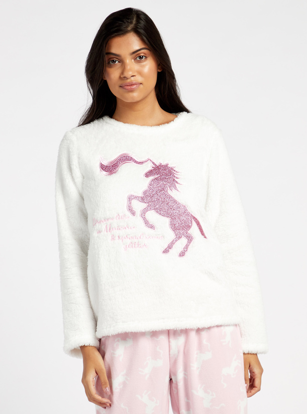 Cozy Collection Printed Round Neck Top and Full Length Pyjama Set