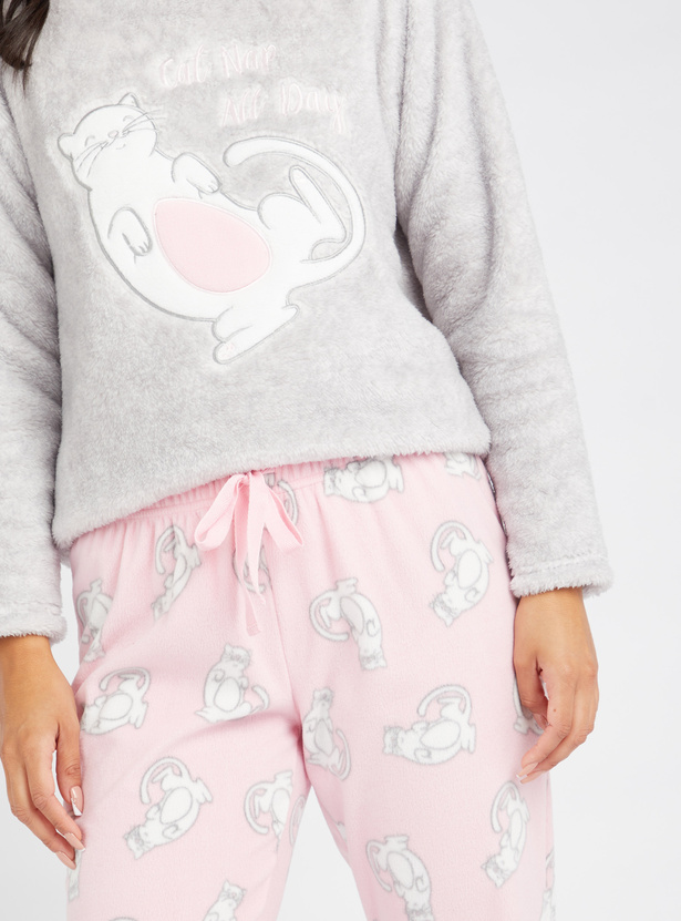 Cozy Collection Plush Detail Round Neck T-shirt and Printed Pyjama Set