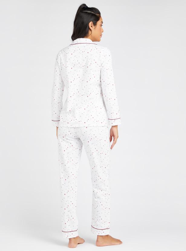 Cozy Collection All-Over Star Print Shirt and Full Length Pyjama Set