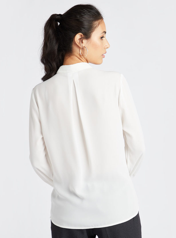 Solid Collared Blouse with Ruffle Detail and Long Sleeves