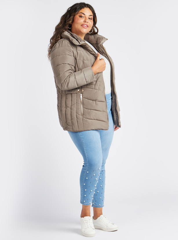 Solid Puff Jacket with Long Sleeves and Hood