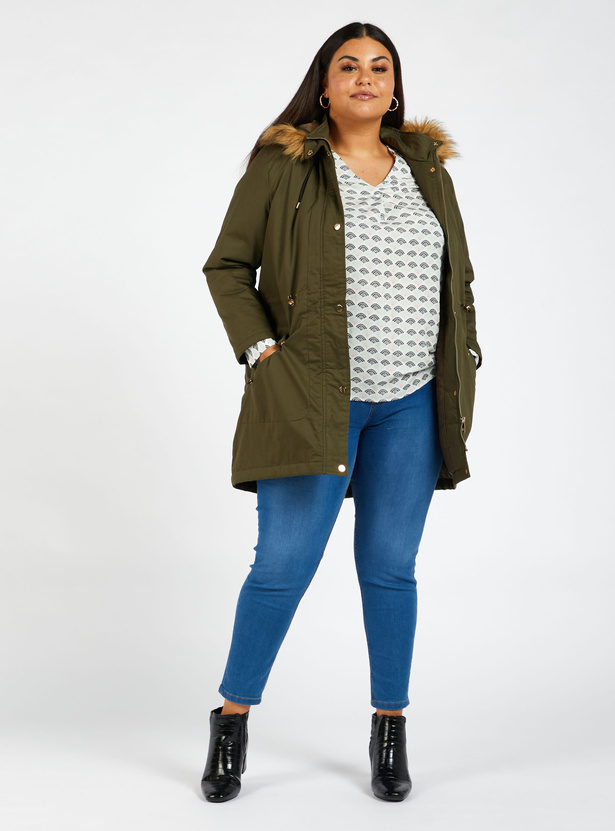 Solid Parka Jacket with Plush Detail Hood and Long Sleeves