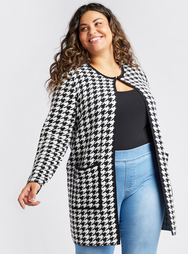 Houndstooth Print Cardigan with Long Sleeves and Patch Pockets