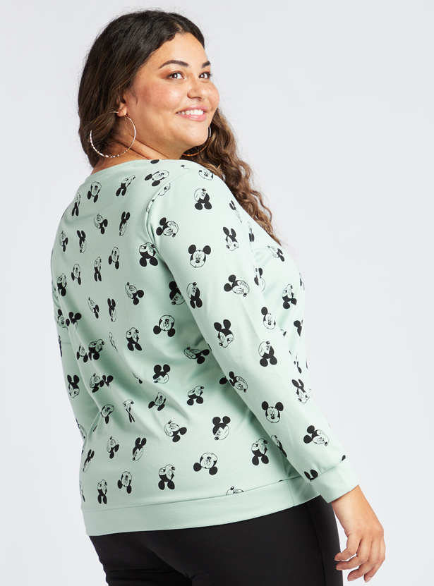 Mickey Mouse Print Sweat Top with Long Sleeves